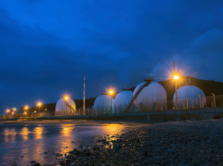 fuel storage: beautiful lighting of gas lpg storage tank in petrochemical industry estate