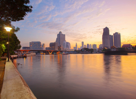 river scape: landscape beautiful morning light of bangkok city crossing chaopraya river