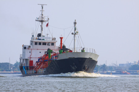 tanker ship: gas lpg container tanker ship running in river use for petrochemical gas energy in water transportation industry Stock Photo