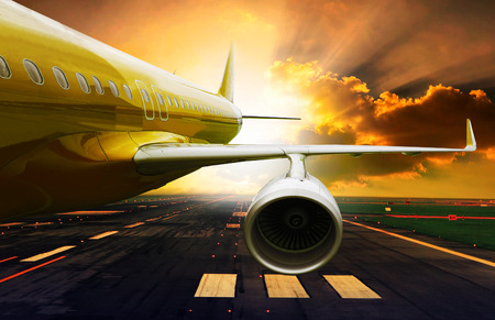 runways: passenger plane take off from runways against beautiful dusky sky with copy space use for air transport ,journey and traveling industry business