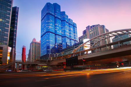silom: beautiful lighting dusky sky of important bangkok modern building landmark Stock Photo