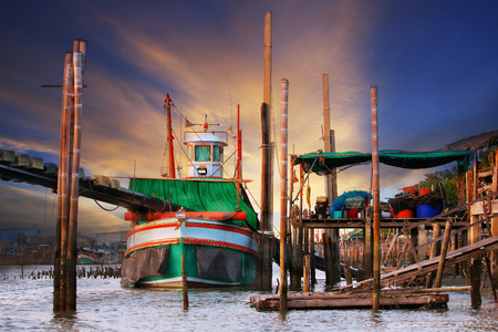 fishery: beautiful land scape of  thai local scene tradition fishery boat floating on river port