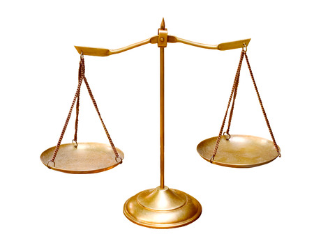 attorney scale: gold brass balance scale isolated on white background use for multipurpose object