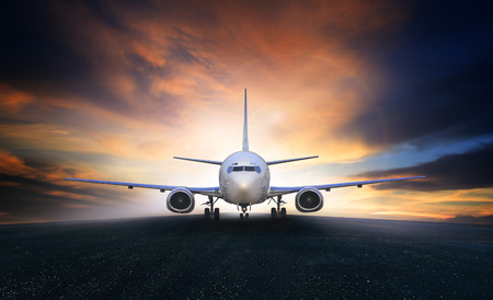 plane landing: air plane preparing to take off on airport runways use for air transpor and airliner business traveling Stock Photo