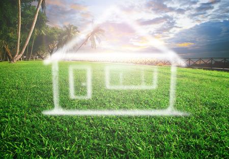 美しい土地景観用の不動産、土地開発および将来の家族の家で夢の家 写真素材 - 37436593