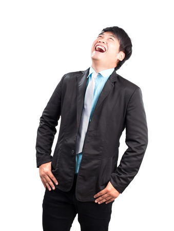 asian man: portrait face of young asina business man laughing isolated on white backgorund