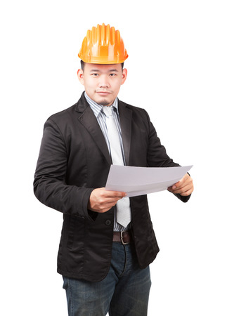 young asian wearing safety helmet working engineering man holding project paper work isolated white background use for engineer working in construction site