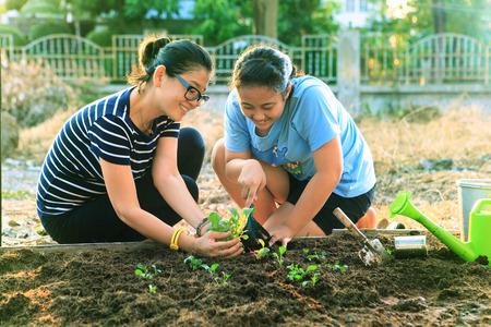 사람들이 가족과 미혼모를위한 홈 정원 필드 사용에 어머니와 어린 딸 심기 야채는 야외 활동을 휴식