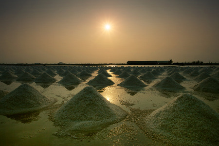 natural process: Heap of sea salt in original salt produce farm make from natural ocean salty water preparing for last process before sent it to industry consumer