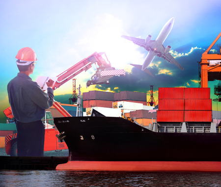 manager working in ship port and air plane cargo logistic use as import export ,transportation shipping ,land and air transport topic