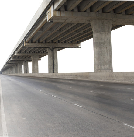 infra: concrete structure of cement bridge isolated white background use for civi development and infra structure of government service