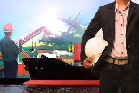 運輸: 工作的人在港船舶使用的船隻航海和進出口運輸物流業
