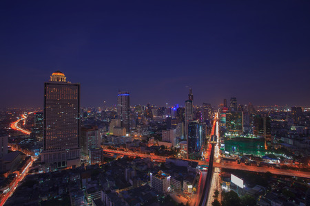 city scape: beautiful city scape dusky with blue sky of bangkok sky scrapper scene one of important landmark in heart of thailand capital cities Stock Photo