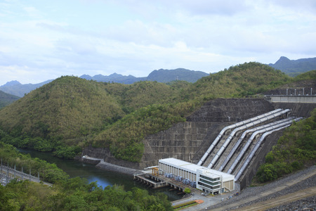 electricity generator: electric power generator building Sri Nakharin Dam, Kanchanaburi, Thailand important electricity generator power produce