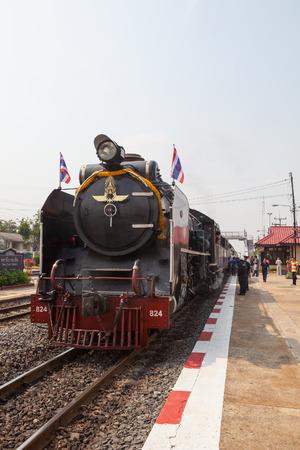 ayuthaya: AYUTHAYA THAILAND -MARCH 28 : locomotive trains parking in bangpain railways station on special trip to Ayuthaya Province on april 28,2015 in ayuthaya thailand