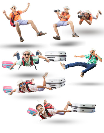mixed acting of floating man action isolated white background traveling and leisure activities theme 版權商用圖片