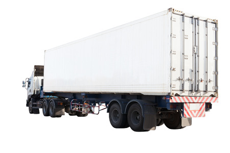 land transport: white container truck isolated background use for industry land transport Stock Photo