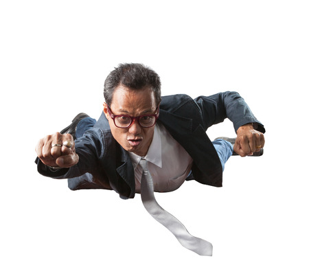 flying man: business man with funny face flying isolated white background Stock Photo