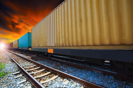 land transportation: boxcar container trains on track use for indutry land transportation Stock Photo
