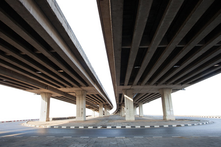 concrete structure: construction of concrete bridge isolated white background use for infra structure of  cement ramb bridge