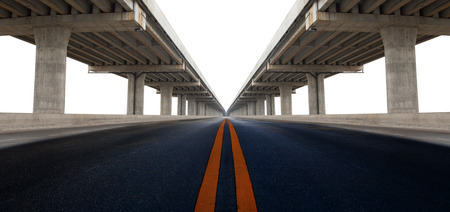 infra construction: perspective on bridge ram construction and asphalt raod isolated white background use for infra structure and civil development background