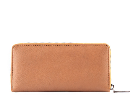 clutch bag: close up brown leather of luxury lady  clutch bag isolated white background