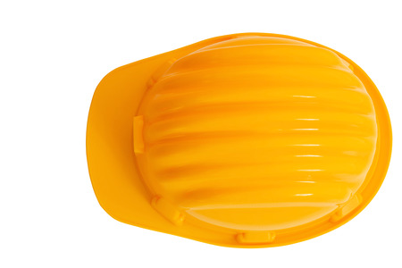 head protection: top view of safety, construction protection helmet isolated white background Stock Photo