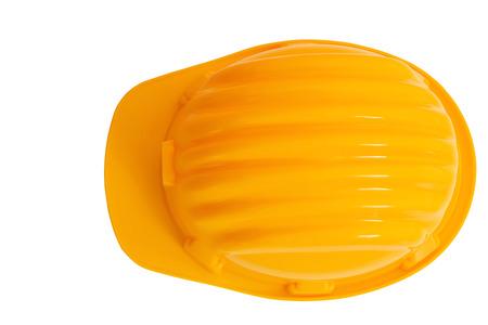 protección: vista desde arriba de la seguridad, aislado casco de la protecci�n de la construcci�n fondo blanco