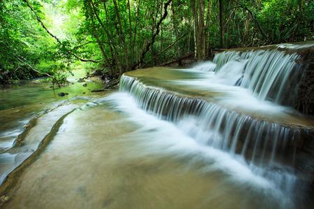 water falls: beautiful hauy mae kamin water falls in deep forest kanchanaburi western of thailand