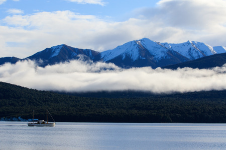 south island new zealand: beautiful sceninc of lake te anau south island new zealand Stock Photo