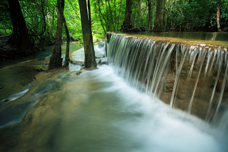 kamin: beautiful hauy mae kamin water falls in deep forest kanchanaburi western of thailand