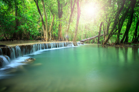 kamin: beautiful landscape of hauy mae kamin water falls in pure and deep forest of kanchanaburi national park thailand