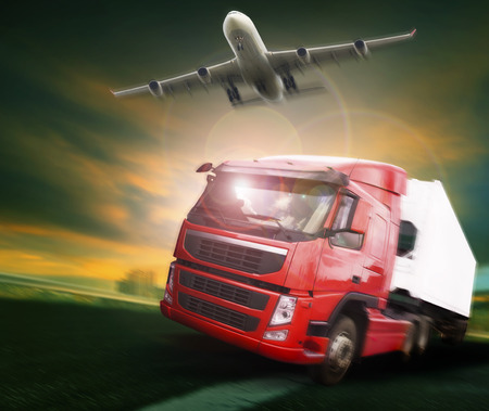 cargo: container truck and freight cargo plane flying above in land and air logistic transport industry Stock Photo
