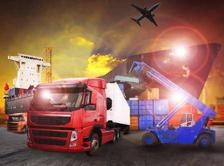 container truck in shipping port use for transport,logistic and cargo freight import - export industry Stock Photo