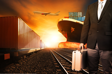 land transport: investor and container trains ,commercial ship on port freight cargo plane flying above use for logistic and transportation industry background