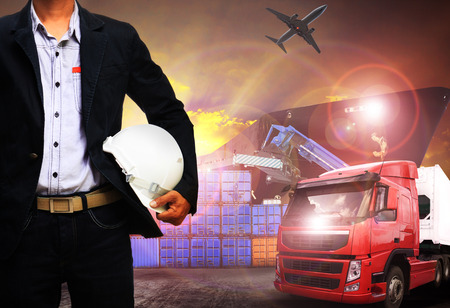 import and export business: working man in shipping port,freight cargo ,logistic and import,export business Stock Photo
