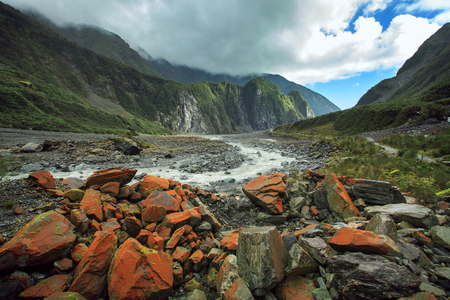land scape: land scape of fox glacier in south island new zealand important traveling destination