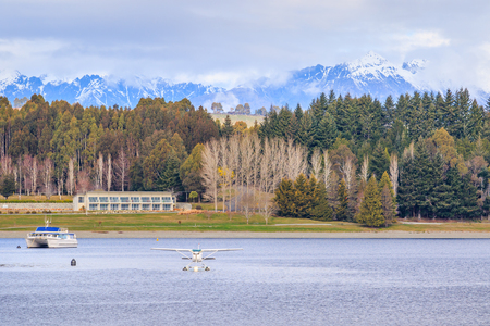 land scape: land scape and natural mountain  view point of lake te anau south island new zealand Editorial