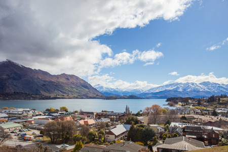 land scape: beautiful top view land scape of lake wanaka town in cloudy day spring season south island new zealand Stock Photo