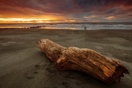 sea scape: beautiful natural sun set sea scape at hokitika beach south island new zealand