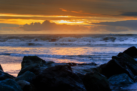 sea wave: hokitika sea beach on evening