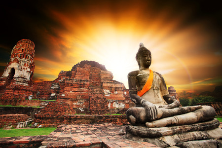 heritage site: ancient buddha statue in Ayuthaya unesco world heritage site central religion important destination to visiting  thailand