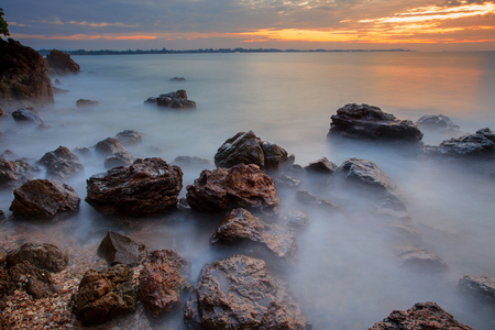 sea scape: beautiful sea scape of wang kaew rayong province eastern of thailand