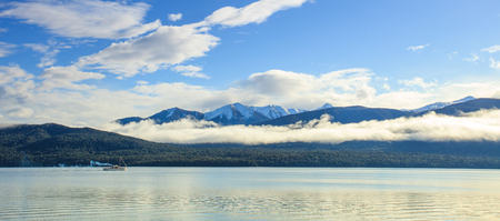 anau: panorama wide angle view of lake te anau important natural destination of fiordland national park south island new zealand