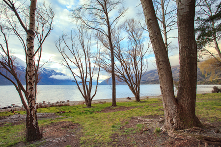 destination scenics: look out scenery of lake wakatipu queentown south island new zealand beautiful traveling destination Stock Photo