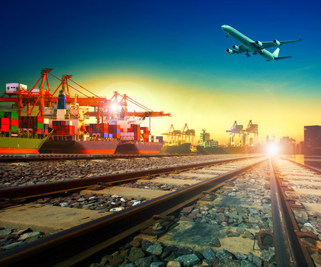 railway transport in import export shipping port and cargo plane logistic flying above use as freight and transportation business service Stok Fotoğraf - 48450163