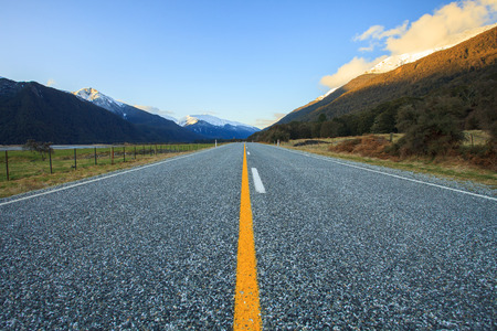 aspiring: beautiful scenic of asphalt highways of mount aspiring national park south island new zealand