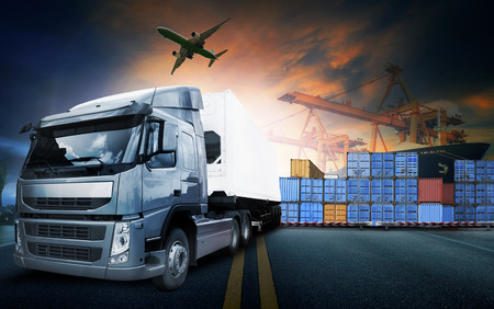 container port: container truck ,ship in port and freight cargo plane in transport and import-export commercial logistic ,shipping business industry