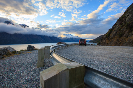 look out: look out view of wakatipu lake in queentown south island new zealand beautiful destination Stock Photo