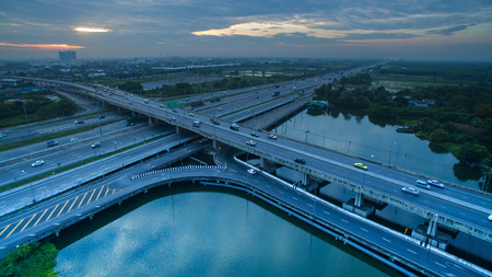 infra construction: aerial view of crossing road bridge in out skirt of bangkok thailand